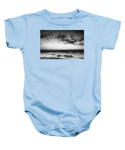 Maine Rocky Coast With Boulders And Clouds At Two Lights Park Baby Onesie