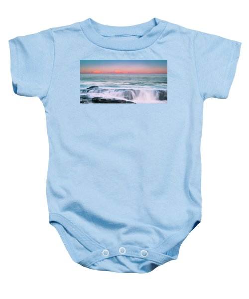 Maine Rocky Coastal Sunset Panorama Baby Onesie