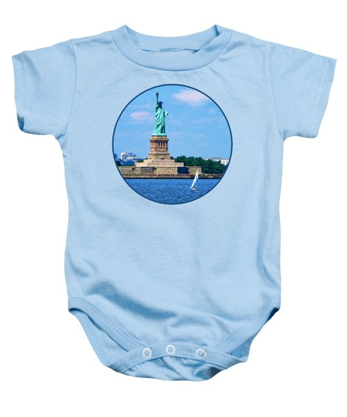 Manhattan - Sailboat By Statue Of Liberty Baby Onesie