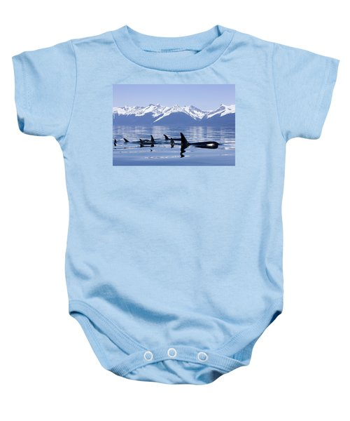 Many Orca Whales Baby Onesie