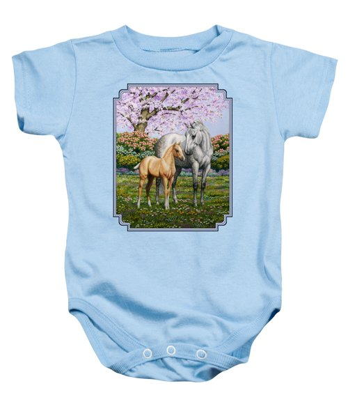 Mare And Foal Pillow Blue Baby Onesie
