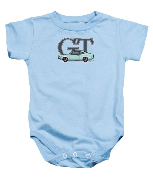 Mazda Savanna Gt Rx-3 Baby Blue Baby Onesie by Monkey Crisis On Mars