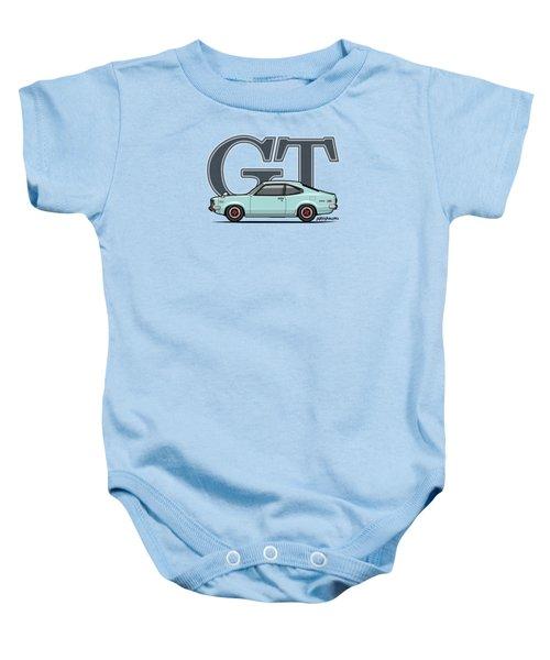 Mazda Savanna Gt Rx-3 Baby Blue Baby Onesie by Monkey Crisis On Mars