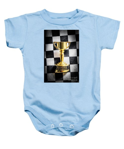 Melbourne Cup Pin On Mens Chequered Fashion Tie Baby Onesie