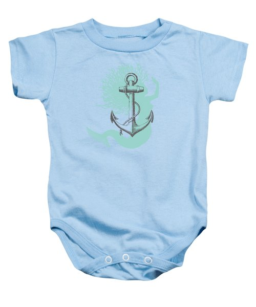 Mermaid And Anchor Baby Onesie by Sandra McGinley