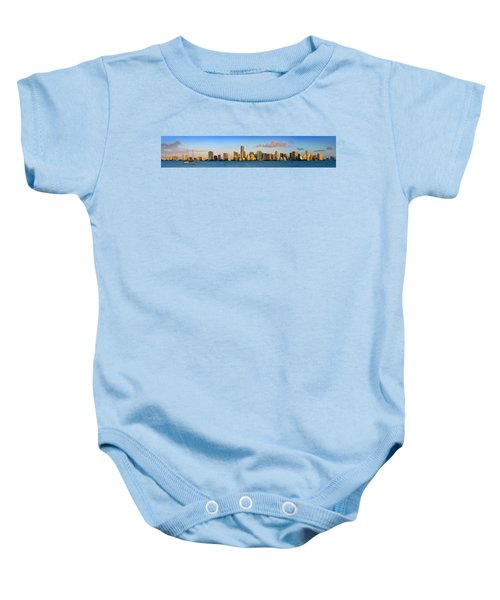 Miami Skyline In Morning Daytime Panorama Baby Onesie by Jon Holiday