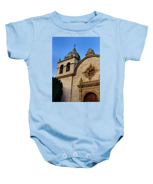 Baby Onesie featuring the photograph Mission Carmel Bell Tower In Color by Renee Hong