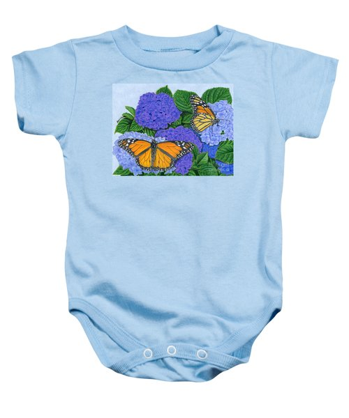 Monarch Butterflies And Hydrangeas Baby Onesie by Sarah Batalka