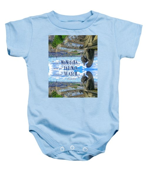 Monsters Were His Friends Notre-dame Paris Gargoyle Baby Onesie