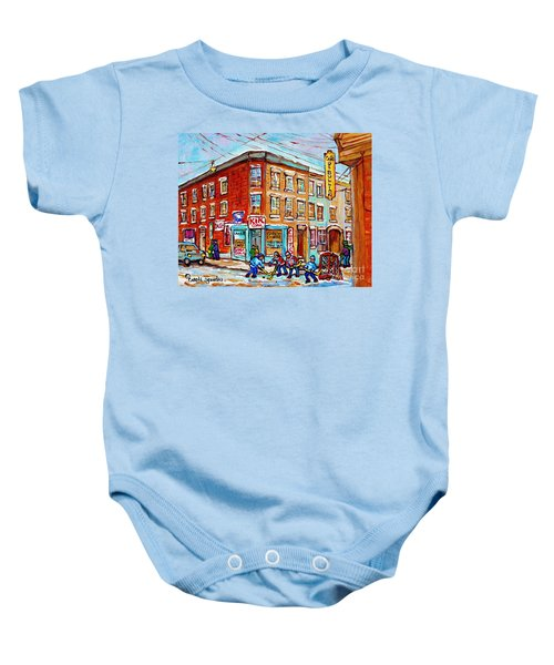 Montreal Storefront Paintings Debullion Street Hockey Art Quebec Winterscenes C Spandau Canadian Art Baby Onesie