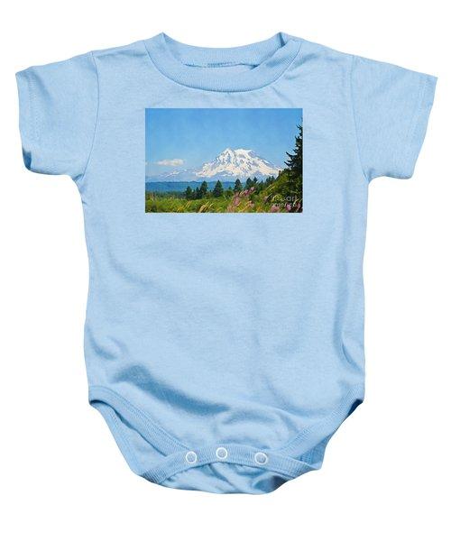 Mount Rainier Watercolor Baby Onesie