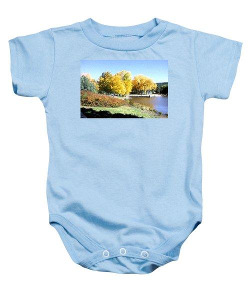 Mountain Lake Autumn Baby Onesie