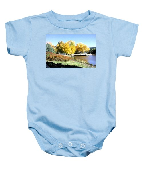 Mountain Lake Autumn Baby Onesie