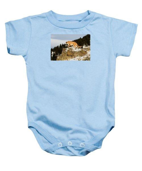 Mountain Lion On Rocks Baby Onesie