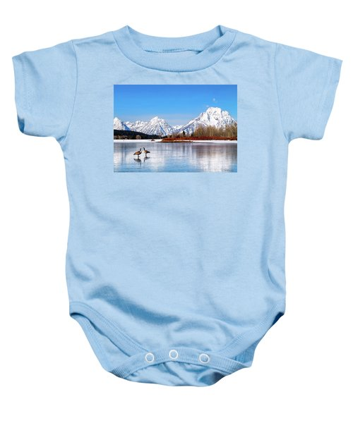 Mt Moran With Geese Baby Onesie