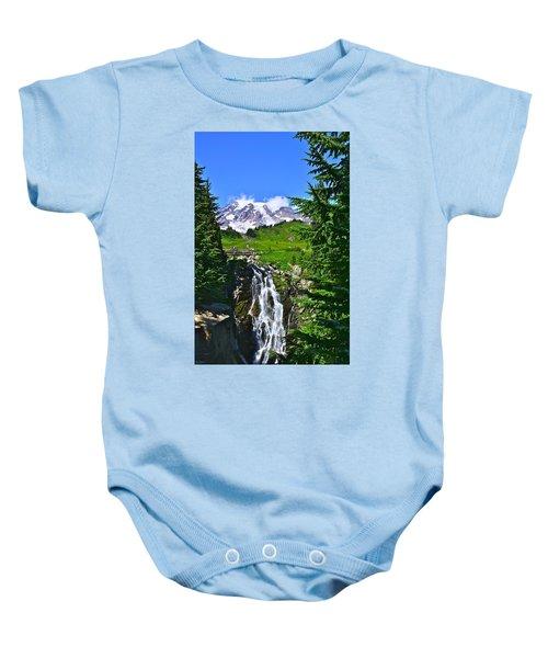 Mt. Rainier From Myrtle Falls Baby Onesie
