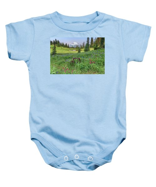Mt Rainier Meadow Flowers Baby Onesie