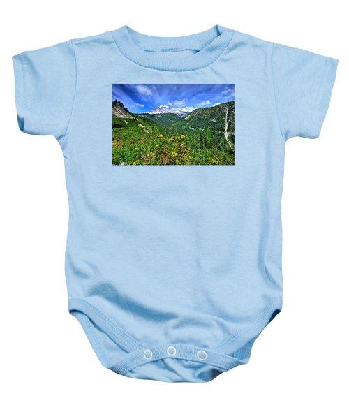 Mt. Rainier Through The Clouds  Baby Onesie