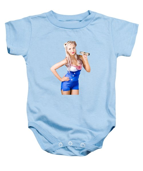 Baby Onesie featuring the photograph Nautical Woman In Sailor Outfit by Jorgo Photography - Wall Art Gallery