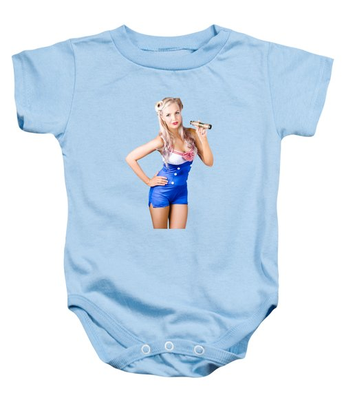 Nautical Woman In Sailor Outfit Baby Onesie