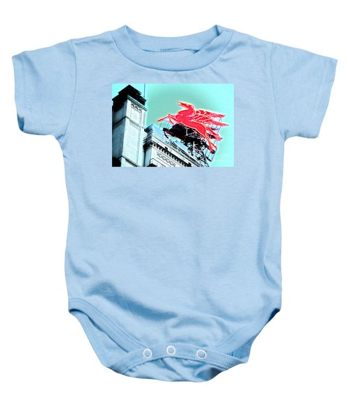 Neon Pegasus Atop Magnolia Building In Dallas Texas Baby Onesie