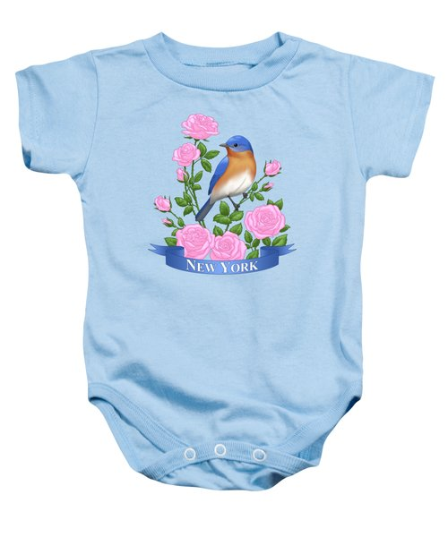 New York Bluebird And Pink Roses Baby Onesie