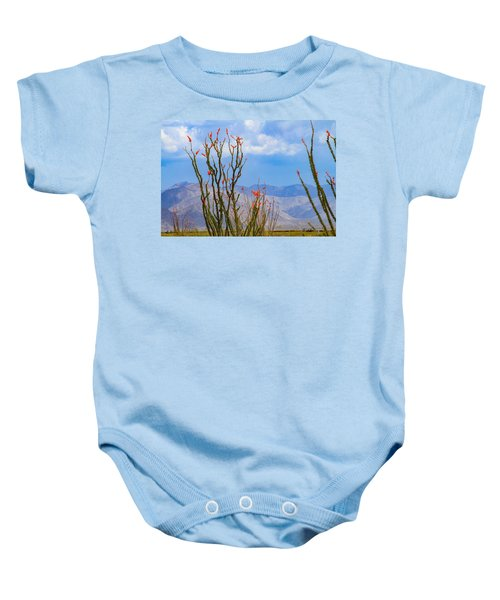 Ocotillo Cactus With Mountains And Sky Baby Onesie