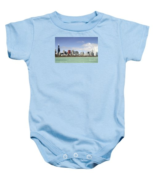Off The Shore Of Chicago Baby Onesie by Ricky L Jones