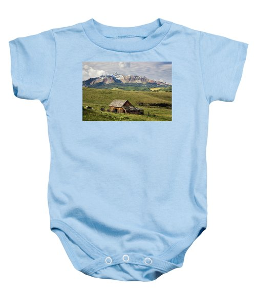 Old Barn And Wilson Peak Horizontal Baby Onesie