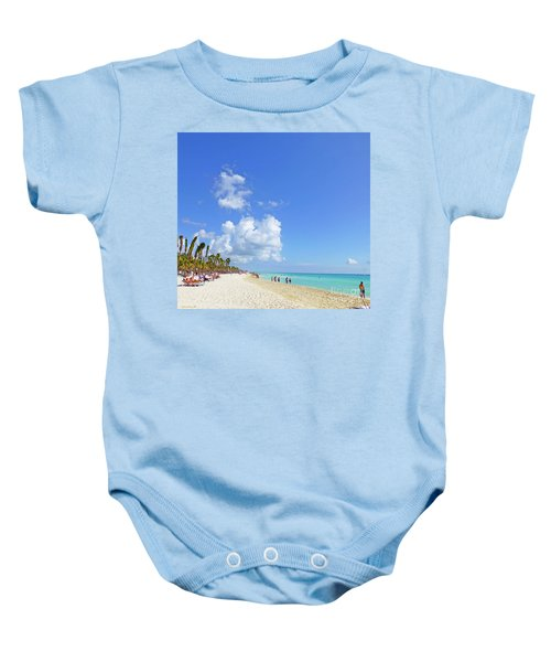 Baby Onesie featuring the digital art On The Beach M1 by Francesca Mackenney