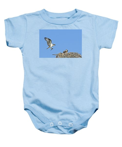 Osprey Brings Fish To Nest Baby Onesie