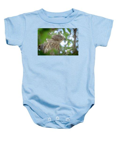 Red-shouldered Hawk Fledgling 1 Baby Onesie