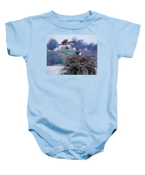 Osprey Nest Building Baby Onesie