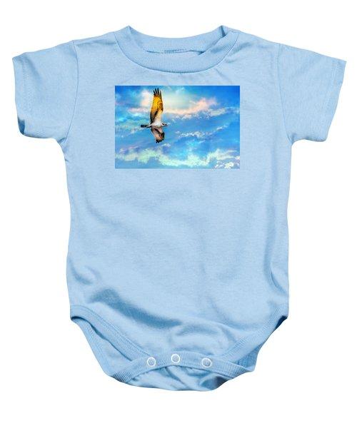 Osprey Soaring High Against A Beautiful Sky Baby Onesie