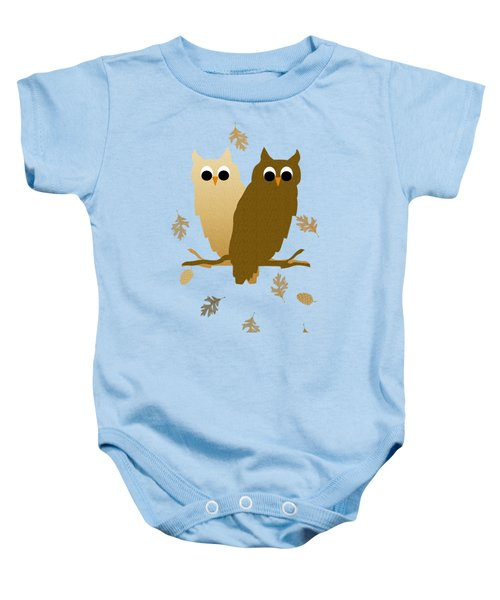 Owls Pattern Art Baby Onesie by Christina Rollo