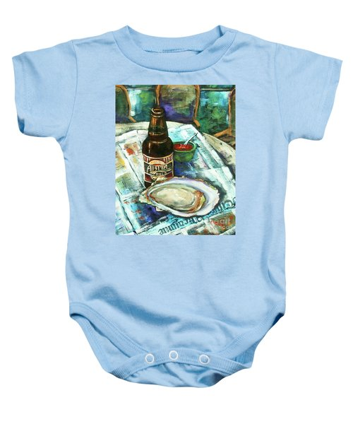 Oyster And Amber Baby Onesie