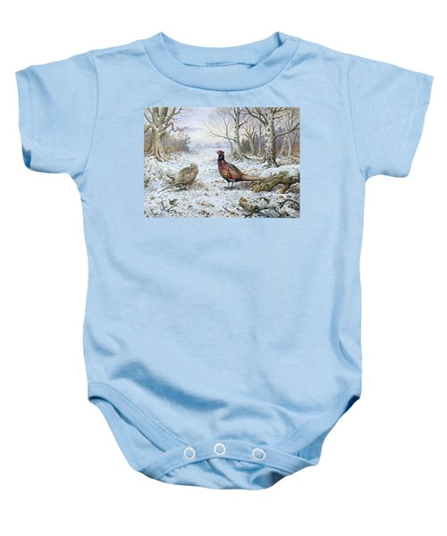Pair Of Pheasants With A Wren Baby Onesie by Carl Donner