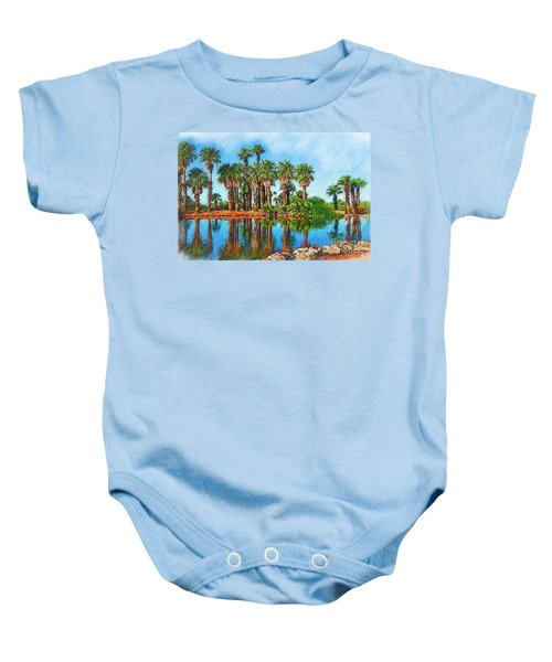 Palm Reflections Sketched Baby Onesie