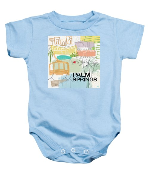 Palm Springs Cityscape- Art By Linda Woods Baby Onesie