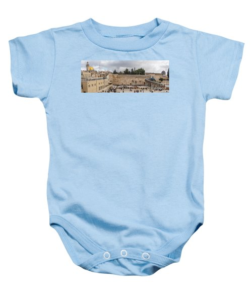 Panoramic View Of The Wailing Wall In The Old City Of Jerusalem Baby Onesie