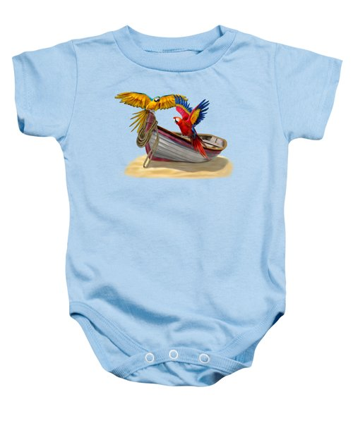 Parrots Of The Caribbean Baby Onesie by Glenn Holbrook