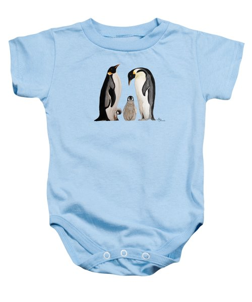 Penguin Family Watercolor Baby Onesie