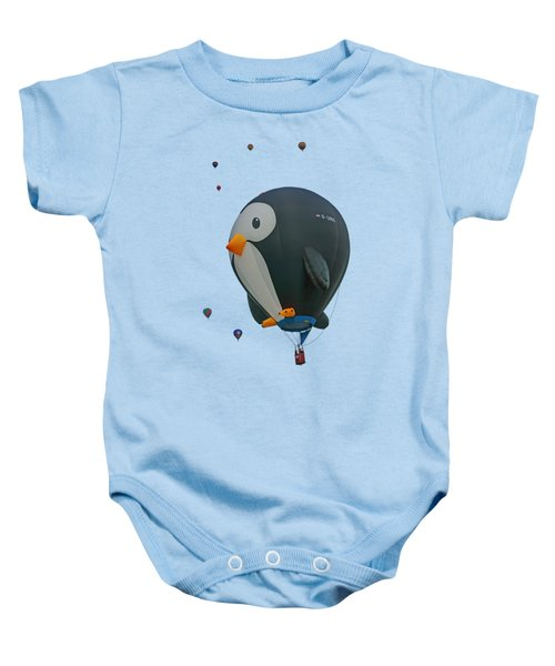 Penguin - Hot Air Balloon - Transparent Baby Onesie