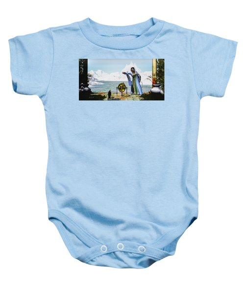 Penguin Magic And The Winter Witch Baby Onesie by Bob Orsillo