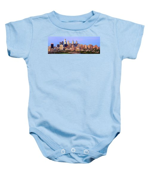 Philadelphia Skyline At Dusk Sunset Pano Baby Onesie by Jon Holiday