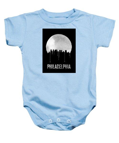 Philadelphia Skyline Black Baby Onesie by Naxart Studio