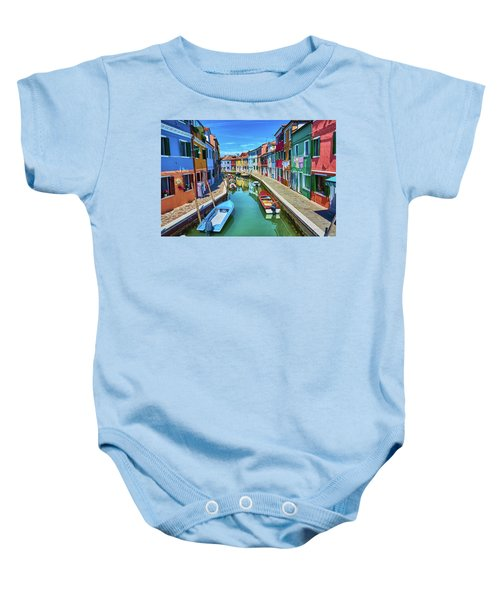 Picturesque Buildings And Boats In Burano Baby Onesie