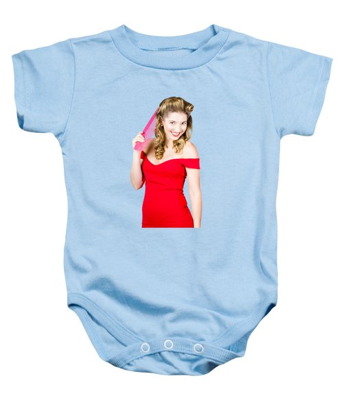 Pin-up Styled Fashion Model With Classic Hairstyle Baby Onesie by Jorgo Photography - Wall Art Gallery