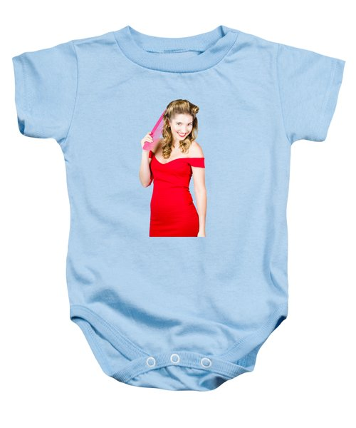 Pin-up Styled Fashion Model With Classic Hairstyle Baby Onesie
