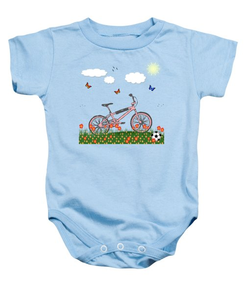 Pink Bicycle Baby Onesie